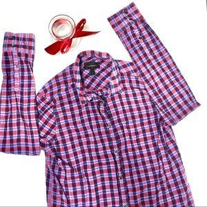 J. Crew Button Down Red Purple Plaid Shirt